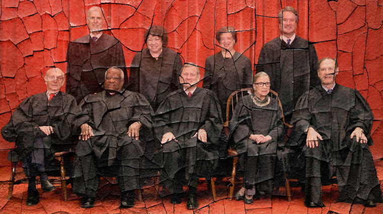Illustration of an eroding photograph of the Supreme Court.