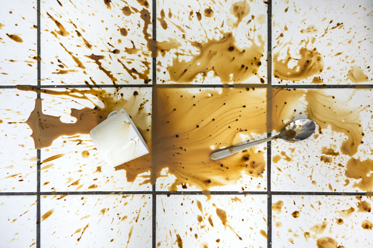 Spilled coffee on the floor