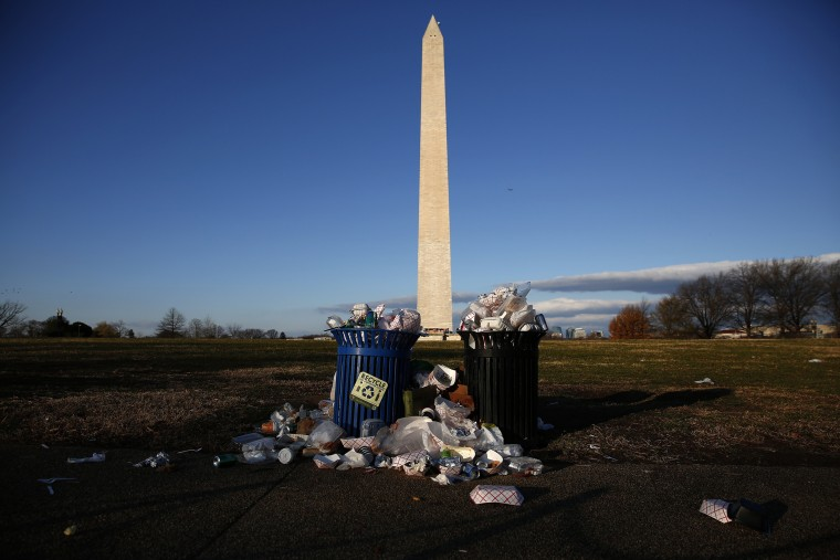 Image: Trash accumulates along the National Mall during the partial government shutdown.