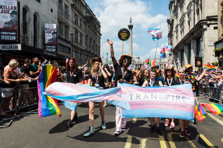 Image: Revelers march in London's Pride Parade on July 7, 2018.