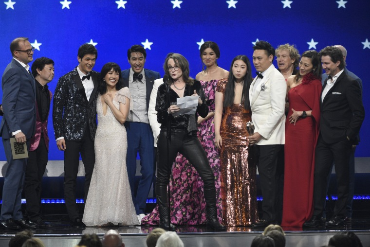 "Image: The cast and crew of ""Crazy Rich Asians"" accept the award for Best Comedy at the Critics' Choice Awards in Santa Monica on Jan. 13, 2019."