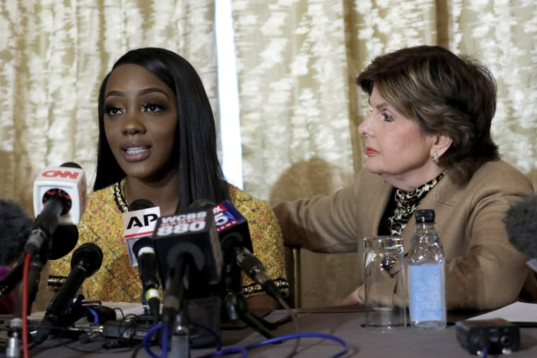 Image: Faith Rodgers speaks as attorney Gloria Allred listens during a press conference on Rodgers' allegations of sexual, physical and mental abuse against R. Kelly in New York on Jan. 14, 2019.
