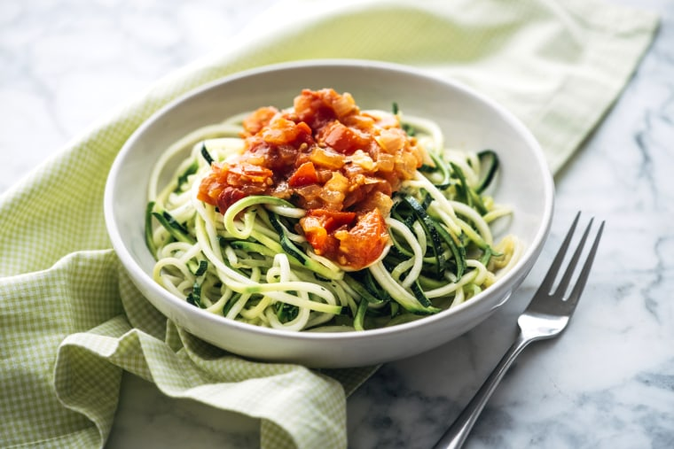 Image: Fresh zoodles with tomato sauce.