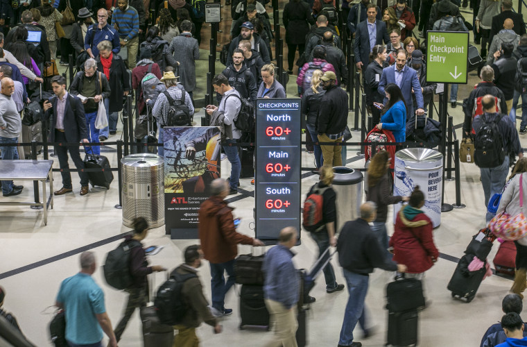 Image: Security lines at Hartsfield-Jackson International Airport in Atlanta stretch more than an hour long amid the government shutdown on Jan. 14, 2019.