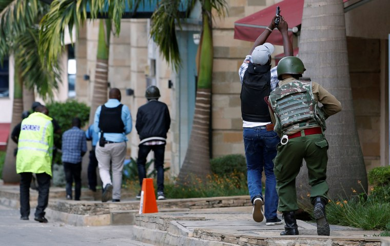Security forces at the scene in Nairobi, Kenya.