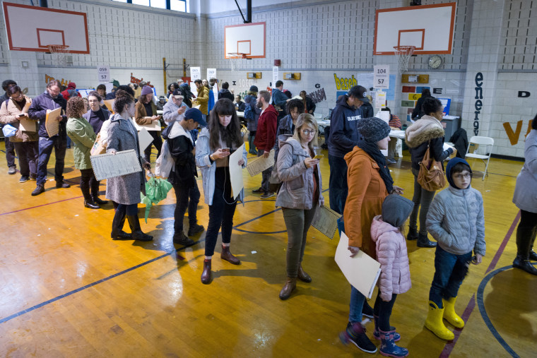 Voters stand in line to cast their ballots on Nov. 6, 2018, in Brooklyn, New York.