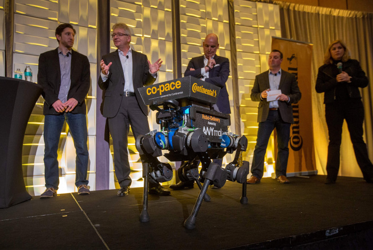 Image: An ANYmal delivery robot at a Continental press conference during the Consumer Electronics Show in Las Vegas on Jan. 7, 2019.