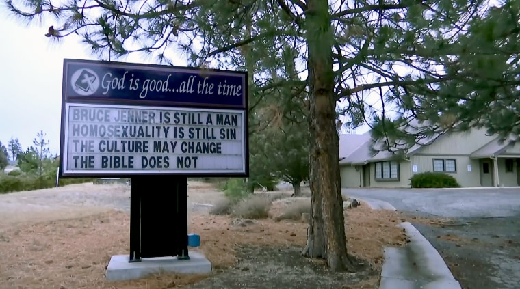 The sign outside the Trinity Presbyterian Church in Siskiyou County, California posted by pastor Justin Hoke.