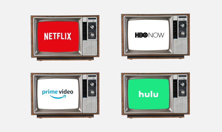 Illustration of streaming services in vintage TVs.