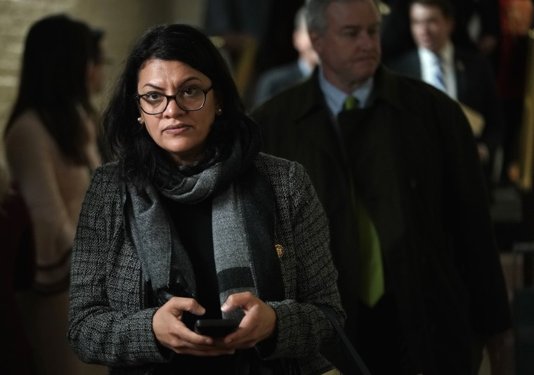 Image: Rep. Rashia Tlaib leaves a caucus meeting at the Capitol on Jan. 9, 2019.