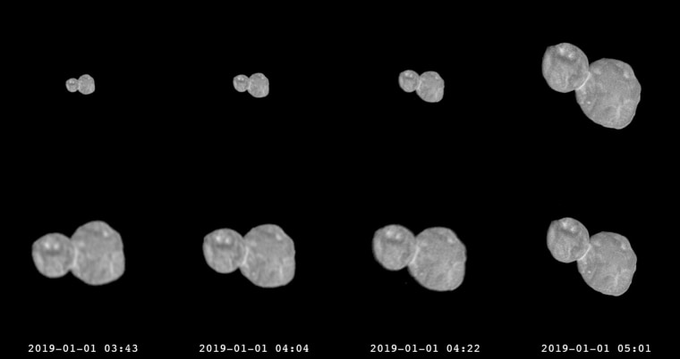Image: A series of photographs made by the New Horizons spacecraft approaching the Ultima Thule object on Jan. 1, 2019.