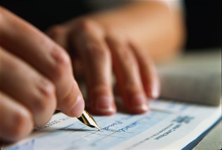 Image: Hand writing check