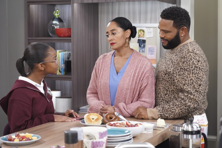 "Image: Marsai Martin, Tracee Ellis Ross, and Anthony Anderson in a scene from ABC's ""black-ish."""