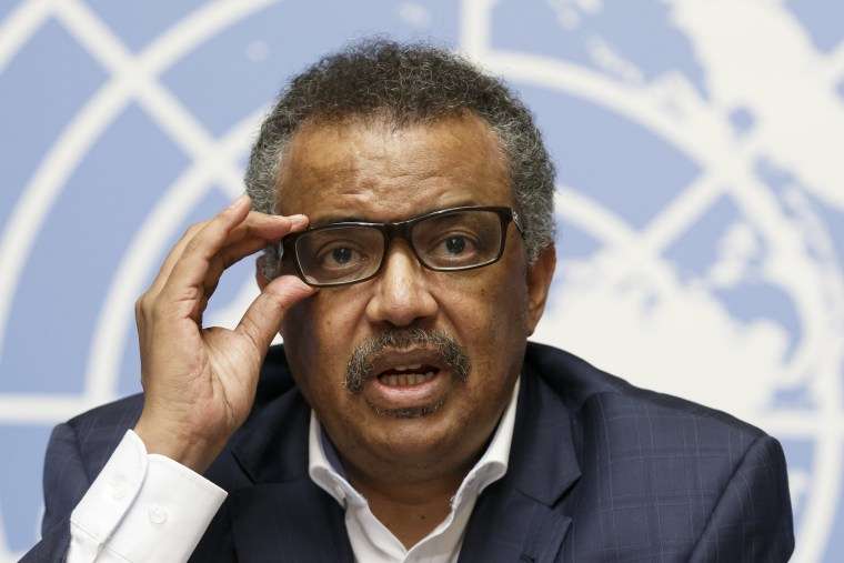 Tedros Adhanom Ghebreyesus, director-general of the World Health Organization, at the Geneva  headquarters of the United Nations on Aug. 14.