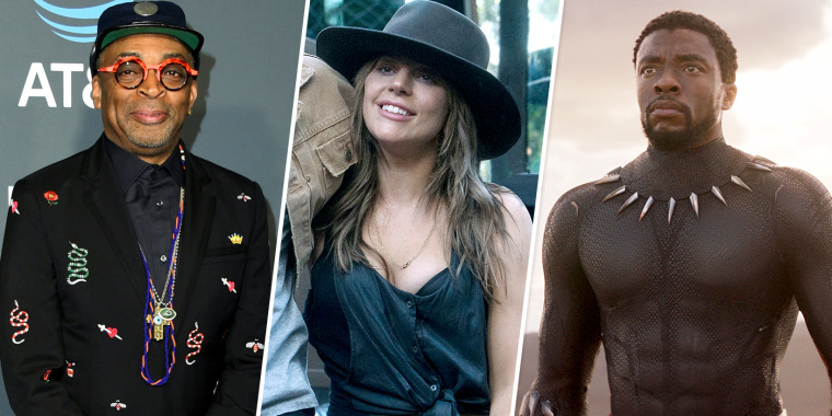 "Spike Lee, Lady Gaga in 'A Star Is Born', and Chadwick Boseman as T'Challa in ""Black Panther."""