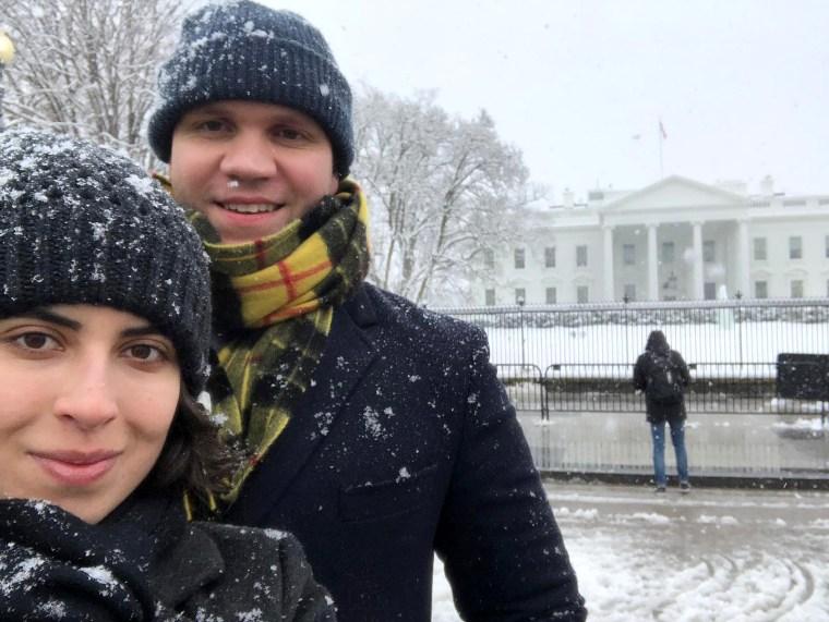 Matthew Hedges and his wife Daniela Tejada in Washington in January 2019.