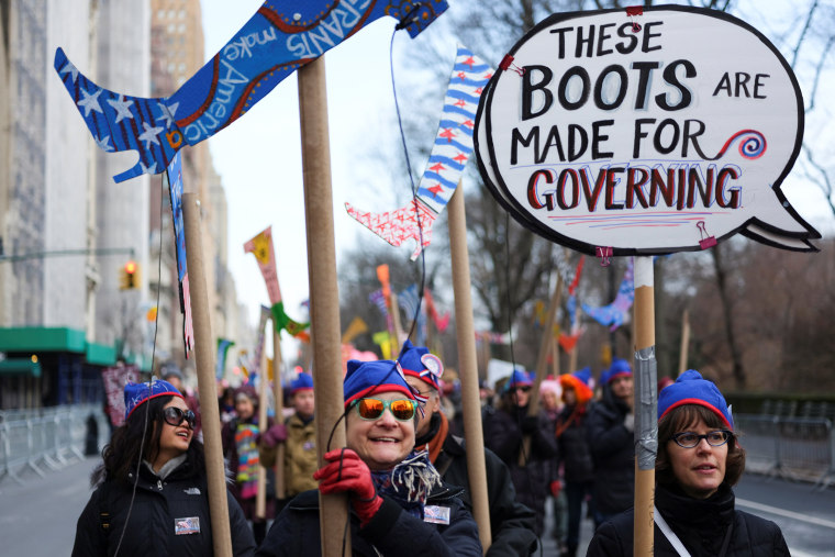 Image: Demonstrators take part in a march organized by the Women's March Alliance in the Manhattan borough of New York City