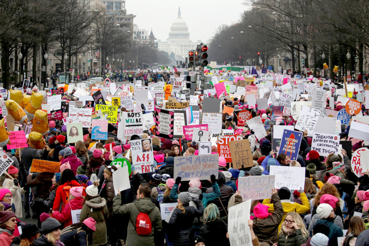 Image: Thousands of people participate in the Third Annual Women's March at Freedom Plaza in Washington