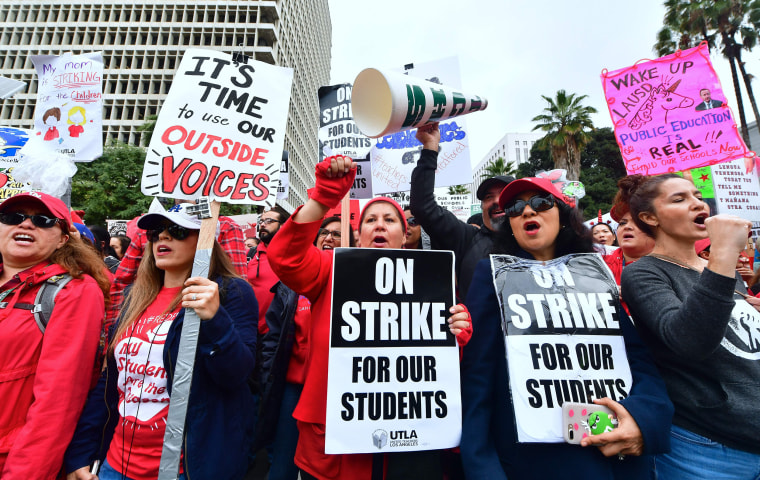 Teachers from the Los Angeles Unified School District and their supporters rally outside City Hall on Jan. 18, 2019.