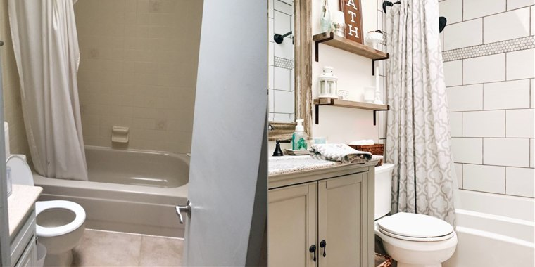 See This Bathroom Makeover With Shiplap Subway Tile And