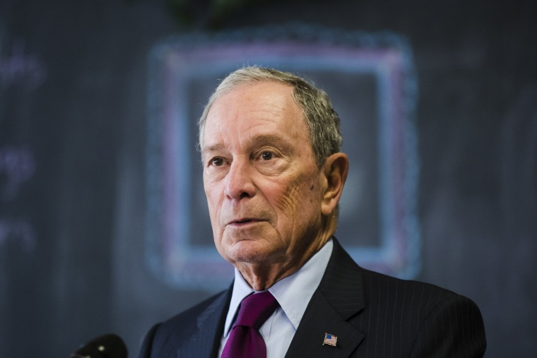 Michael Bloomberg speaks the media at The Bridge Way School in Philadelphia on Nov. 30, 2018.