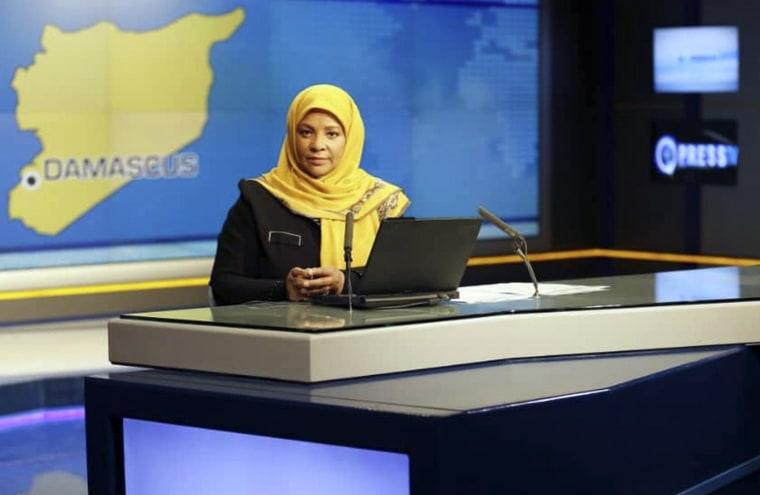 Image: American-born news anchor Marziyeh Hashemi at a studio in Tehran, Iran.