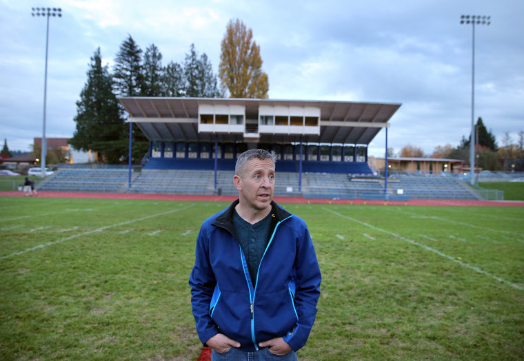 Image: Former assistant football coach Joe Kennedy at Bremerton Memorial Stadium on Nov. 5, 2015.