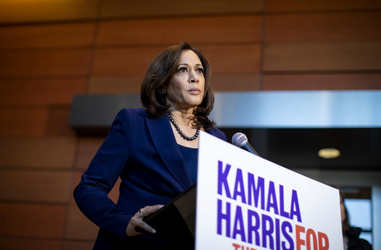 Image: Senator Kamala Harris speaks to reporters after announcing her candidacy for President at Howard University in Washington, D.C., on Jan. 21, 2019.