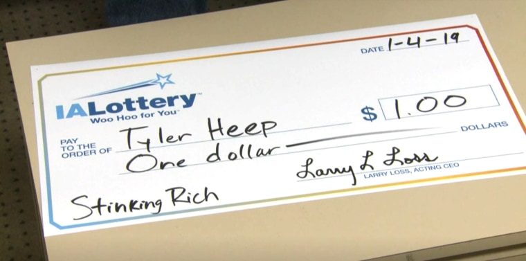 Image: An Iowa man, Tyler Heep, has been given the jackpot treatment after winning a dollar in his state's lottery.