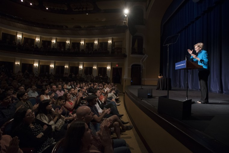 Image: Senator Elizabeth Warren speaks at an event on recovery efforts in Puerto Rico in San Juan on Jan. 22, 2019.
