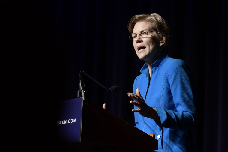 Image: Senator Elizabeth Warren speaks at an event on recovery efforts in Puerto Rico in San Juan on Jan. 22, 2019.