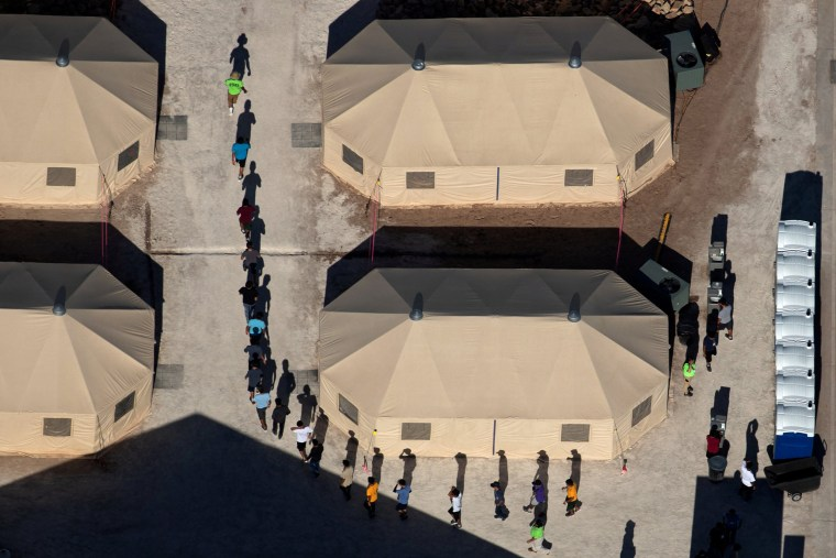 Image: Immigrant children at a detention facility near the Mexican border in Tornillo, Texas, on June 18, 2018.
