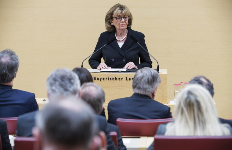 Charlotte Knobloch, Holocaust survivor and former head of Germany's Central Council of Jews, speaks at the Bavarian Parliament in Munich on Wednesday. More than a dozen lawmakers from the far-right Alternative for Germany walked out during her speech.