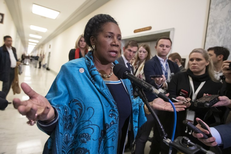 Image: Rep. Sheila Jackson Lee speaks to reporters on Capitol Hill on Dec. 7, 2018.