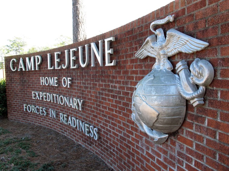 Image: The globe and anchor stand at the entrance to Camp Lejeune, N.C