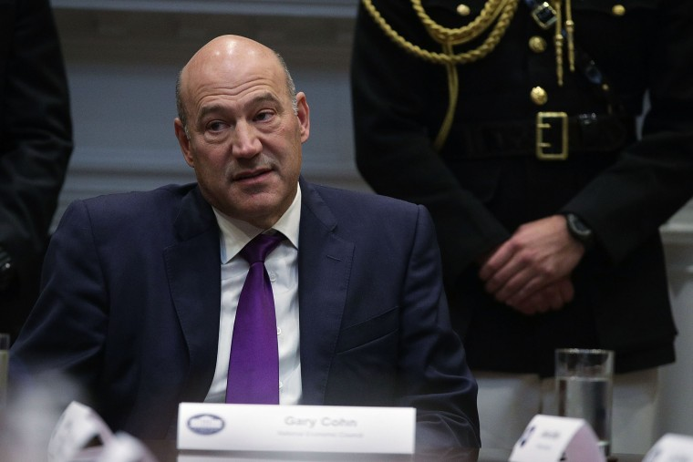 Image: Director of the National Economic Council Gary Cohn listens during a Roosevelt Room event
