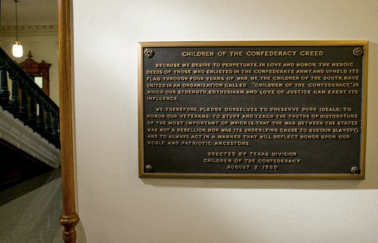 The Children of the Confederacy Creed plaque at the Capitol in Austin, Texas, on Aug. 17, 2017.
