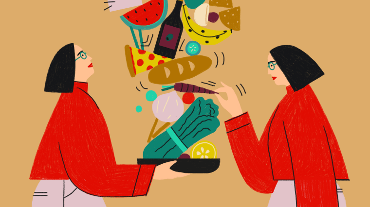 Illustration of woman pulling food from a jenga of food items.
