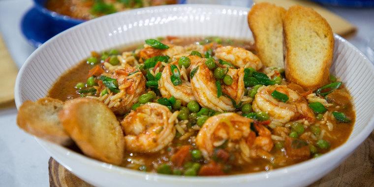 Jernard Wells One-Pot Shrimp and Orzo