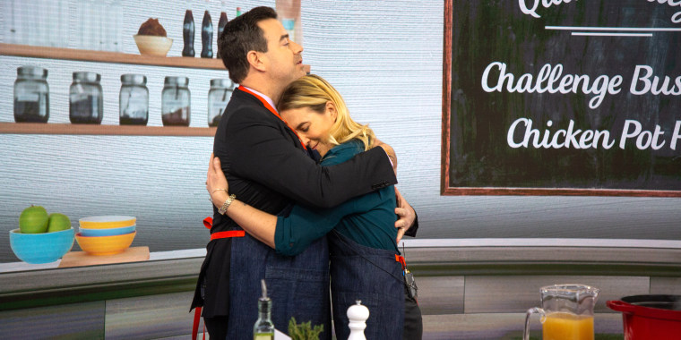 Quinn and Carson Daly share a hug on the set of TODAY.