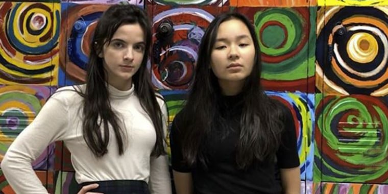 """After her friend was disciplined for wearing a short that was \""""too short,\"""" Laura Orsi (left) decided to take action."""