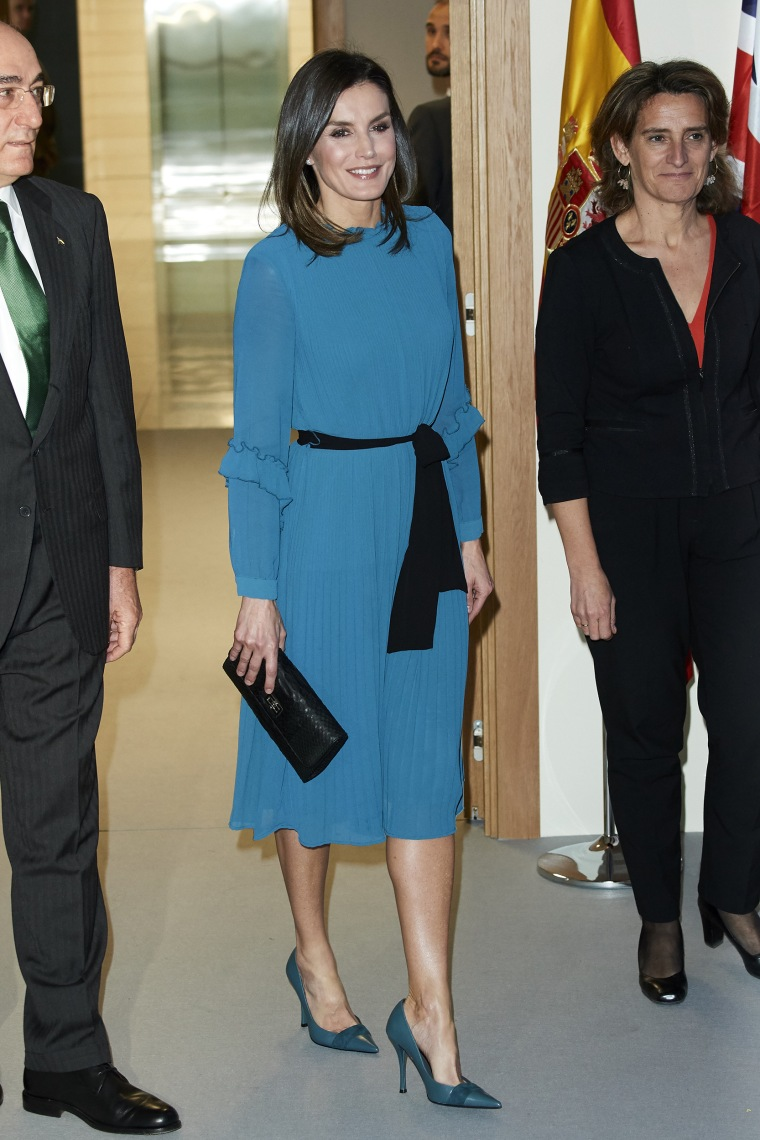 aafe89a3331d3 Queen Letizia Of Spain Attends Ibedrola Foundation Scholarships Talk about  a royal bargain! The queen wore a jumpsuit dress ...