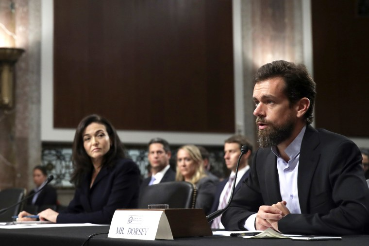 Image: Twitter CEO Jack Dorsey And Facebook COO Sheryl Sandberg Testify To Senate Committee On Foreign Influence Operations