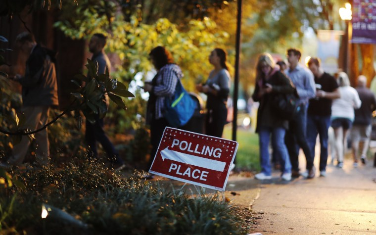 Image: A line forms outside a polling site on election day in Atlanta, Georgia, on Nov. 6, 2018.