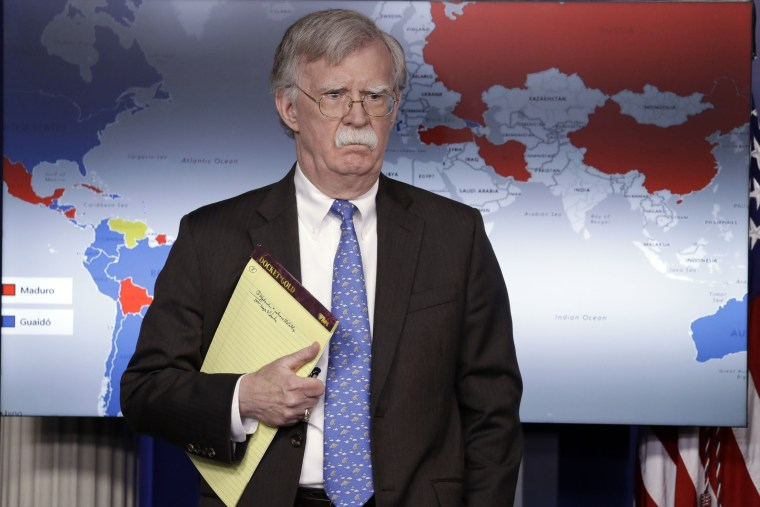 Image: National Security Adviser John Bolton at a press briefing at the White House on Jan. 28, 2019.