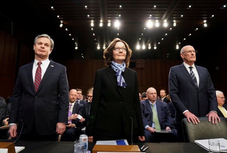 Image: FBI Director Christopher Wray, CIA Director Gina Haspel and Director of National Intelligence Dan Coats arrive to testify before a Senate Intelligence Committee hearing on Capitol Hill on Jan. 29, 2019.