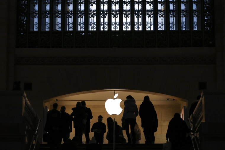 Customers shop at the Apple store in Grand Central Terminal in New York City on Jan. 29, 2019.