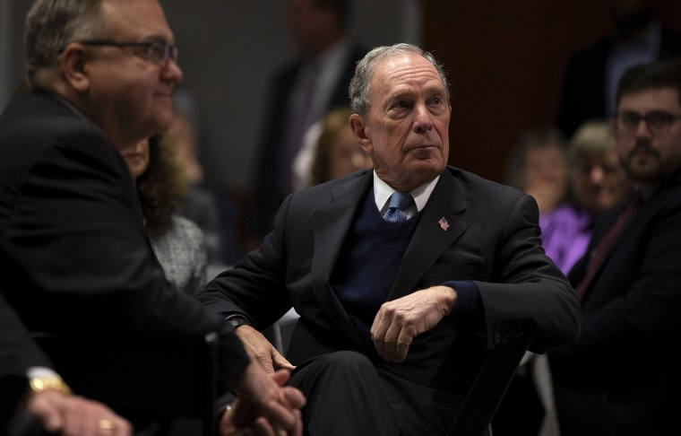 Image: Michael Bloomberg before addressing the audience at St. Anselm College in Manchester, New Hampshire, on Jan. 29, 2019.