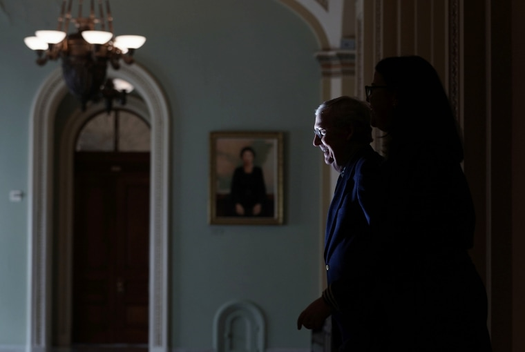 Senate Majority Leader Sen. Mitch McConnell leaves the Senate chamber