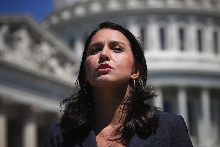 Image: Rep. Tulsi Gabbard, D.-HI, speaks at  a press conference on Capitol Hill on July 18, 2018.